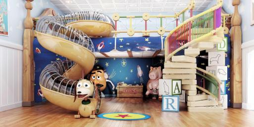 "Andy's Room, a new multi-level youth space in Disney's Oceaneer Club on the Disney Magic, brings the stars of the Disney-Pixar ""Toy Story"" film trilogy to life. Stocked with all of Andy's favorite toys, the room features a giant, working Mr. Potato Head, larger-than-life version of the lovable ""Toy Story"" piggy bank, Hamm, and Slinky Dog slide, the most fun way to descend to the toy room floor. Andy's Room opens on the Disney Magic after the ship undergoes dry dock this fall."